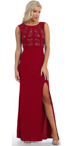 Long Cocktail Dress Red Nude Stretch Jersey Lace Bodice