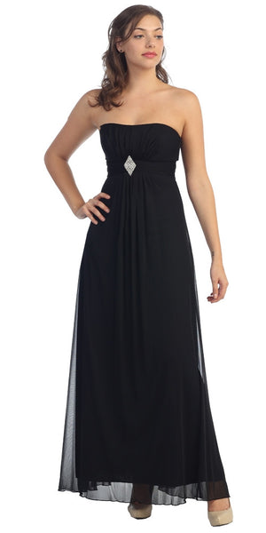 Long Black Bridesmaid Dress Chiffon Empire Waist Strapless Brooch