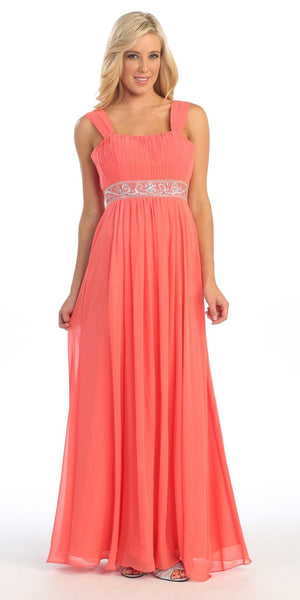 Long Coral Formal Gown Mother of Bride Wide Straps Flowy Empire