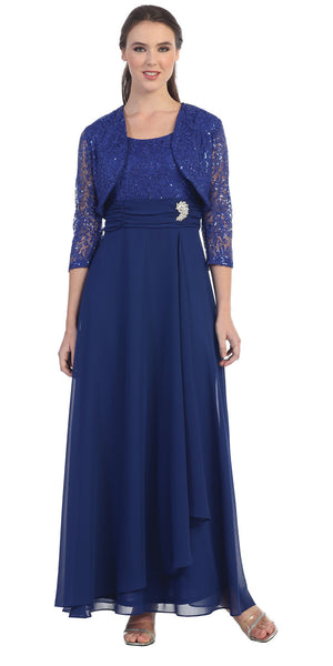 Long Empire Chiffon Dress Royal Blue Matching Bolero Lace Top