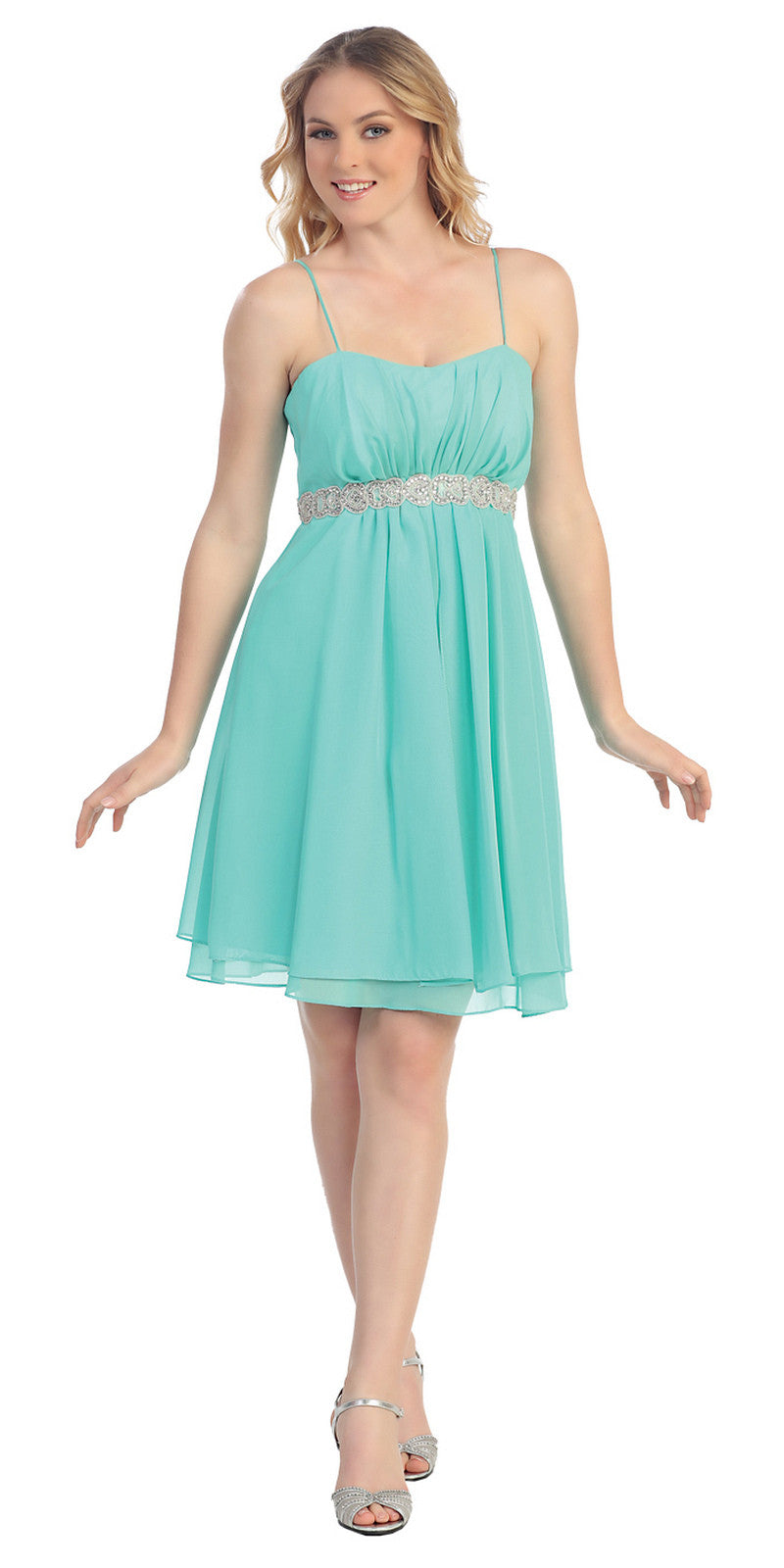 Short Knee Length Mint Chiffon Dress Empire Waist Spaghetti Straps