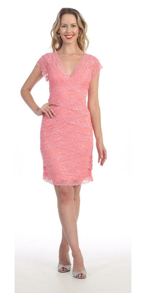 Short Knee Length Pink Lace Sheath Dress Short Sleeve V Neck