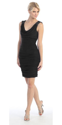 CLEARANCE - Short Adorned V-Neckline Tank Strap Black Mini Party Club Dress (Size S, M, L)