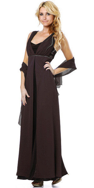 Long Sleeveless Belted Empire Waist Black Bridesmaid Gown