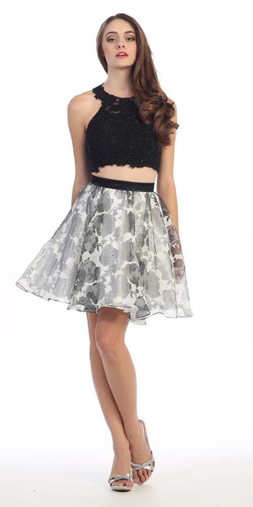 2 Piece Lace Top Dress Black White Lining Criss Cross Back Print