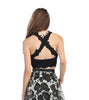 2 Piece Lace Top Dress Black Lining Criss Cross Back Print