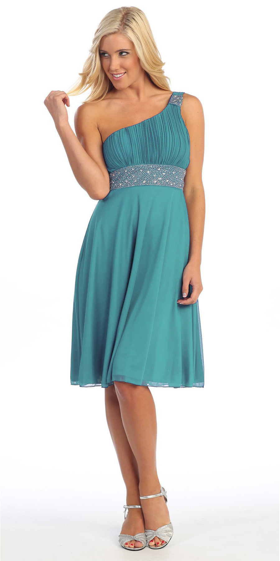 Emerald Green Knee Length Cocktail Dress chiffon One Shoulder Cruise Dress