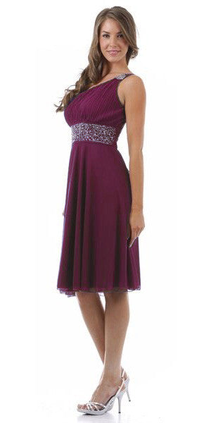 Plum Knee Length Cruise Dress chiffon One Shoulder W/Jacket
