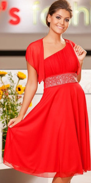 Red Knee Length Cruise Dress chiffon One Shoulder W/Jacket