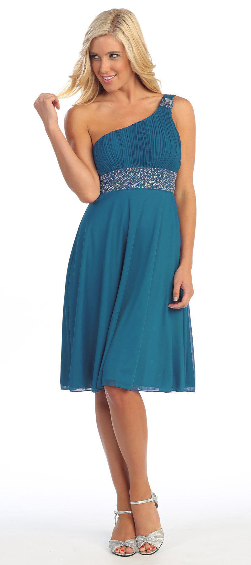 Teal Knee Length Cruise Dress chiffon One Shoulder W/Jacket