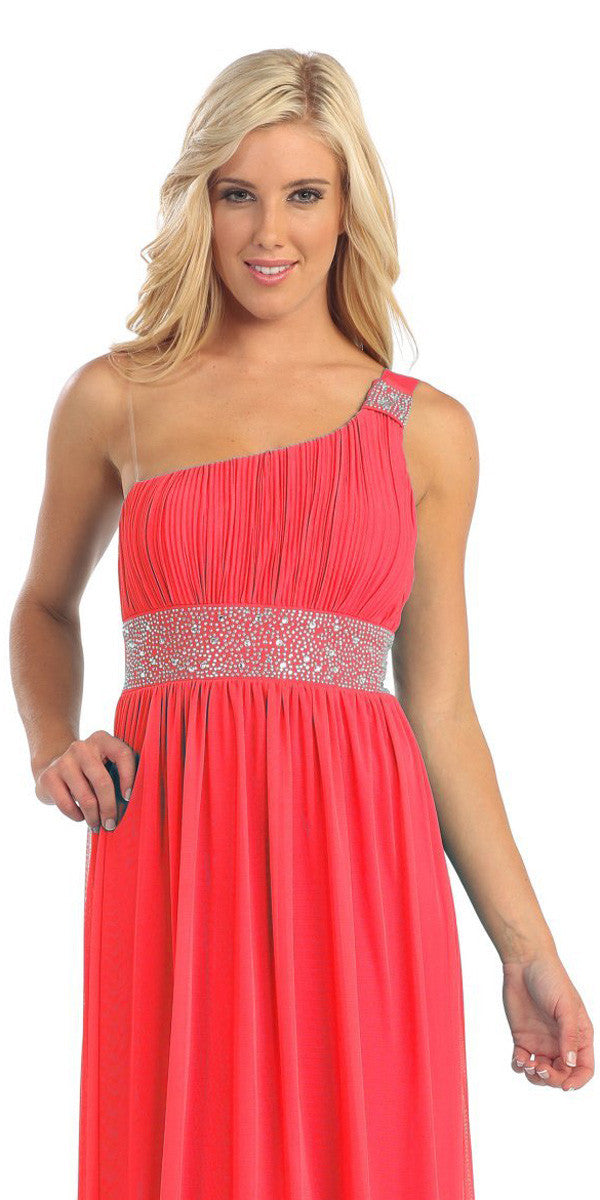 Coral Knee Length Cocktail Dress chiffon One Shoulder Cruise Dress