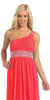 Coral Knee Length Cruise Dress chiffon One Shoulder W/Jacket