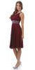 Burgundy Knee Length Choir Dress Chiffon One Shoulder Bolero Jacket