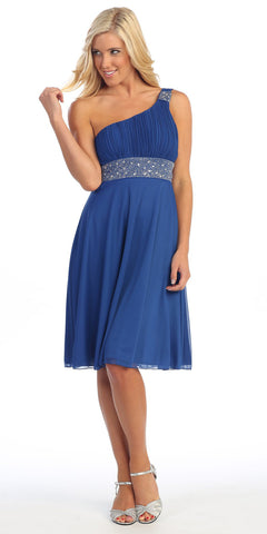 Royal Blue Knee Length Cruise Dress chiffon One Shoulder W/Jacket