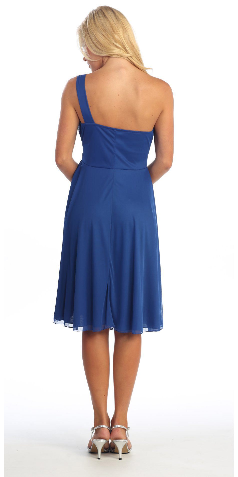 Royal Blue Knee Length Cocktail Dress Chiffon One Shoulder Cruise Dress