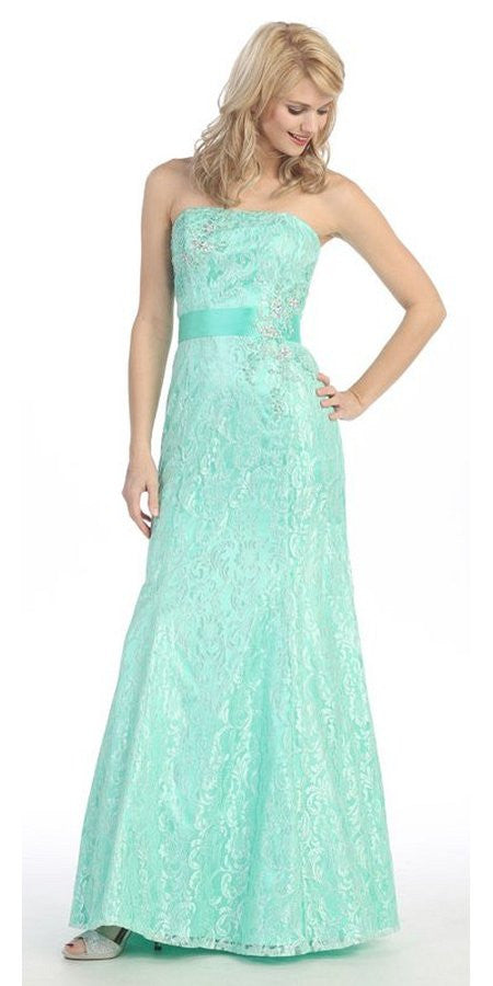 A Line Strapless Natural Waist Long Mint Formal Gown