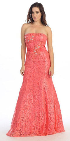 A Line Strapless Natural Waist Long Coral Formal Gown