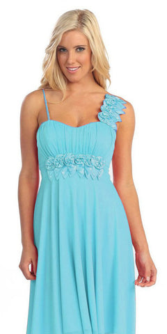 Wedding Guest Flowy Chiffon Aqua Dress One Shoulder Flower Empire