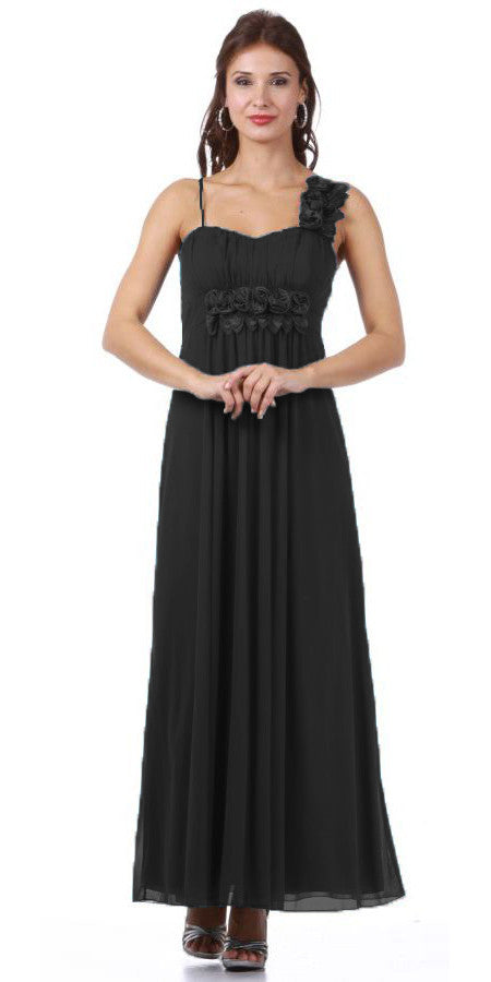 Long Flowy Chiffon Black Dress One Shoulder Flower Strap Empire Waist