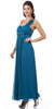 Long Flowy Chiffon Teal Dress One Shoulder Flower Strap Empire Waist