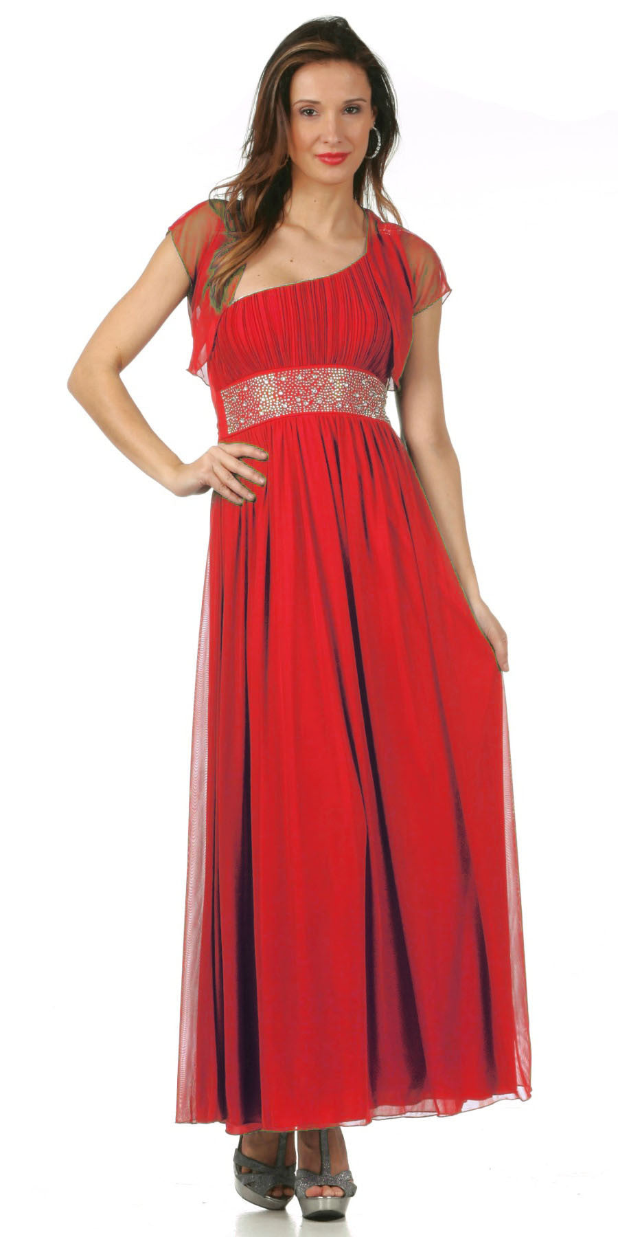 Long Red One Shoulder Evening Gown Chiffon Empire Waist Rhinestone