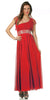 Dinner Party Long Red One Shoulder Dress Chiffon Empire Rhinestone