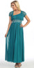 Dinner Party Long Teal One Shoulder Dress Chiffon Empire Rhinestone