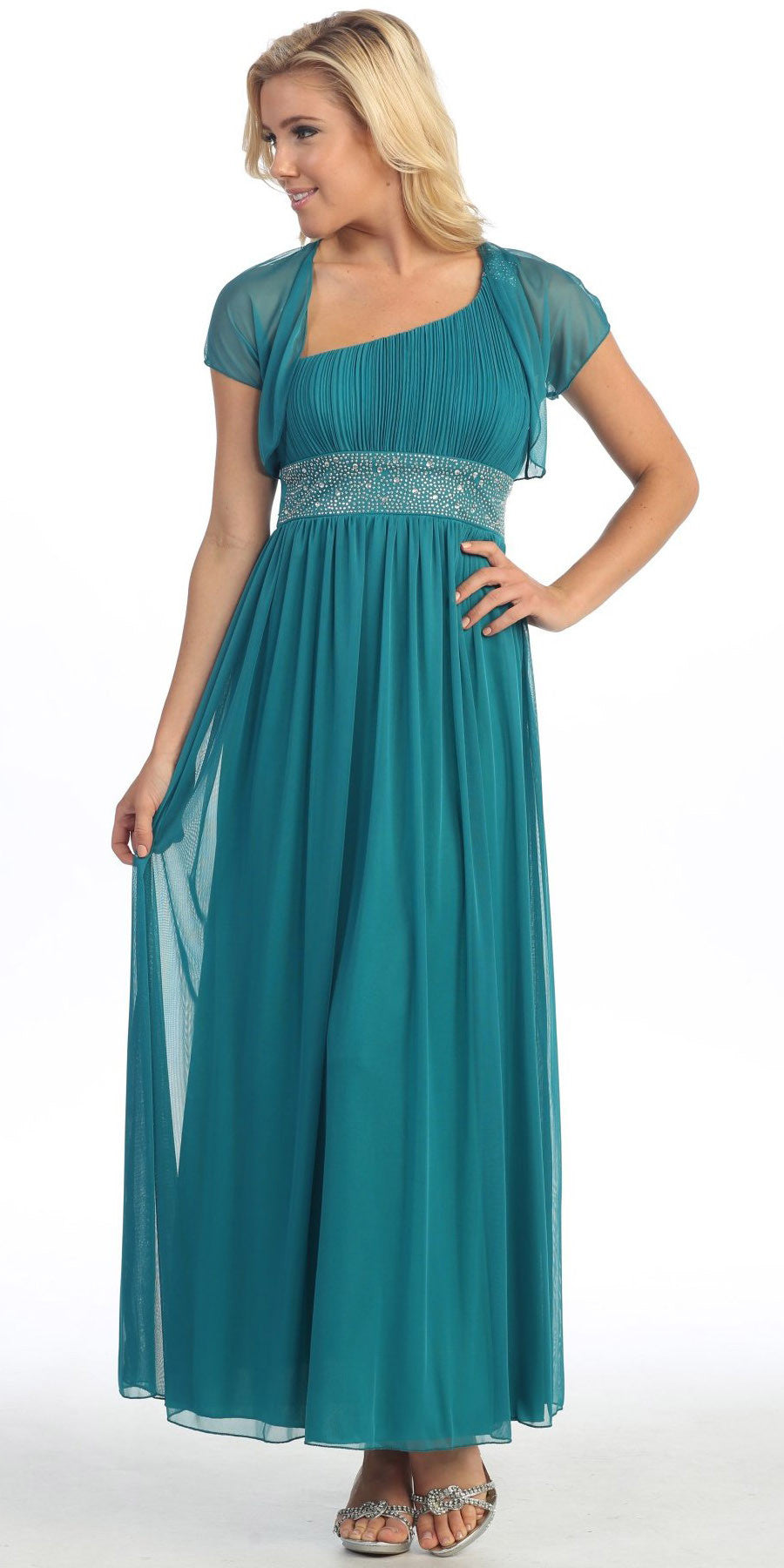 Long Teal One Shoulder Evening Gown Chiffon Empire Waist Rhinestone