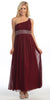 Long Burgundy One Shoulder Evening Gown Chiffon Empire Waist Rhinestone