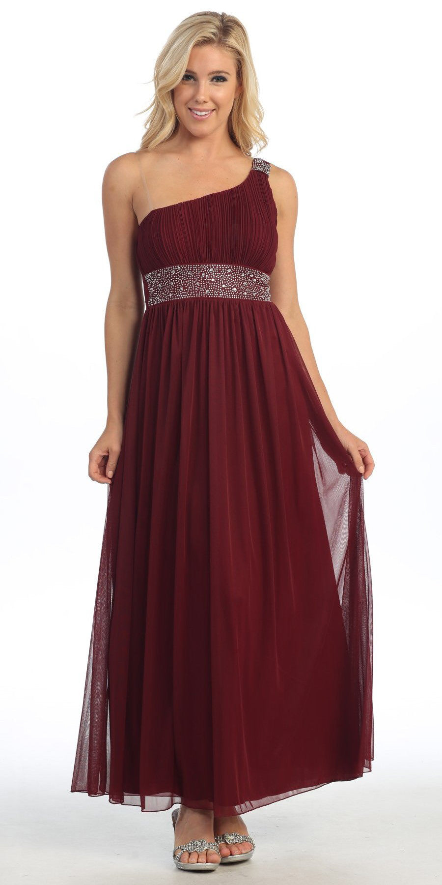 Ankle Length Burgundy Maternity Dress One Shoulder Chiffon Empire