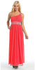 Dinner Party Long Coral One Shoulder Dress Chiffon Empire Rhinestone