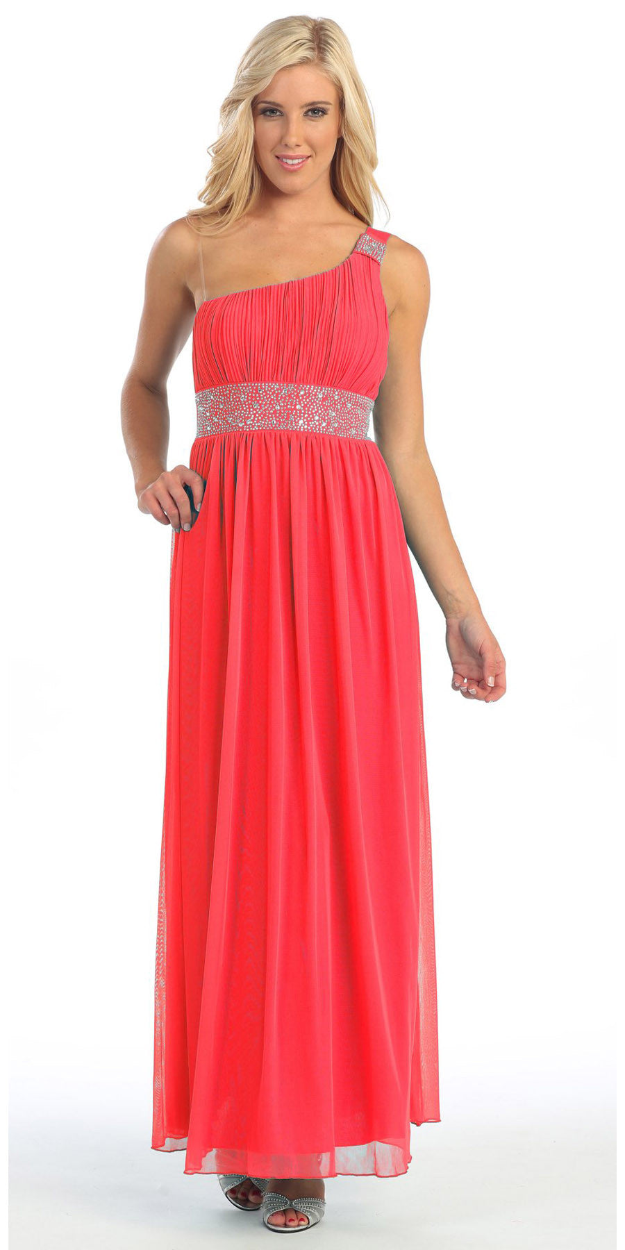 Long Coral One Shoulder Evening Gown Chiffon Empire Waist Rhinestone