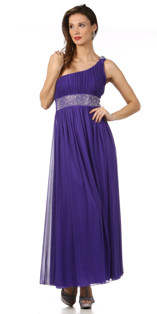 Long Lavender One Shoulder Cruise Gown Chiffon Empire Rhinestone