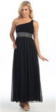 Dinner Party Long Black One Shoulder Dress Chiffon Empire Rhinestone