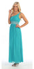 Long Emerald Green One Shoulder Cruise Gown Chiffon Empire Rhinestone