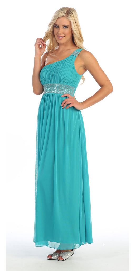 Dinner Party Long Emerald Green One Shoulder Dress Chiffon Empire Rhinestone