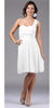 White Bridesmaid Short Dress Knee Length Chiffon Flower Waist