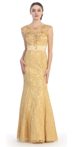 Bateau Neck Meshed Yoke Pleated Waist Gold Trumpet Dress