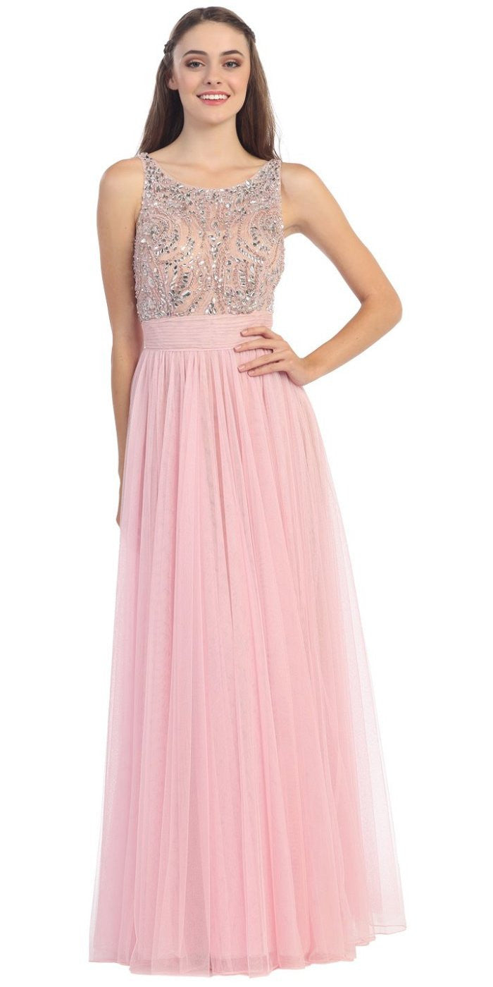 Bateau Neckline Embroidered Pleated A Line Blush Nude Dress