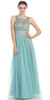 Bateau Neckline Embroidered Pleated A Line Mint Nude Dress