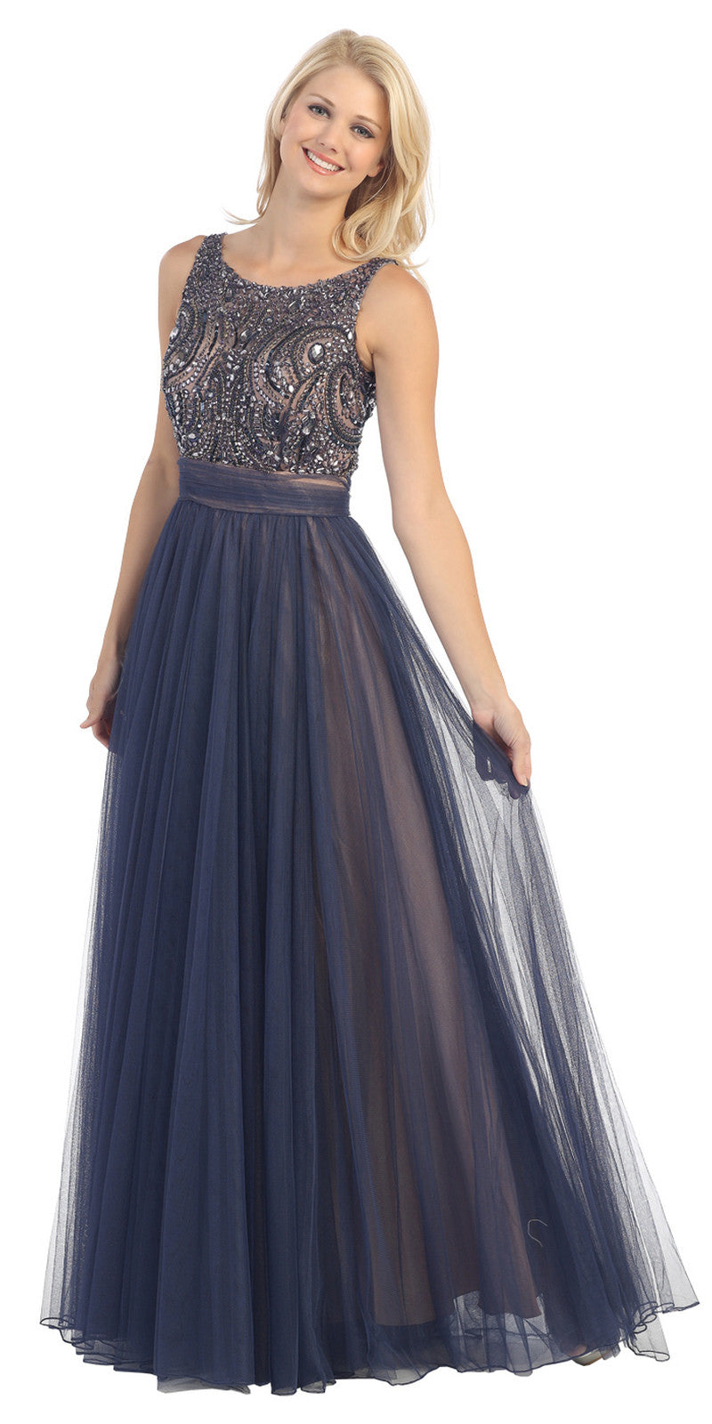Bateau Neckline Embroidered Pleated A Line Navy Blue Nude Dress