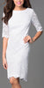 Bateau Neckline Lace Sheath White Cocktail Dress