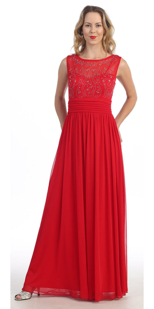 Bateau Neckline Studded Bodice Red Formal Dress