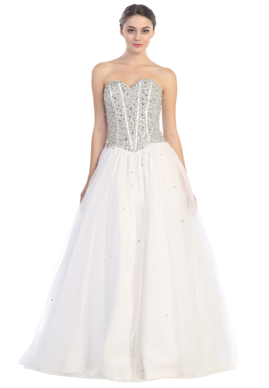 Beaded Corset Bodice Long Strapless White Princess Gown