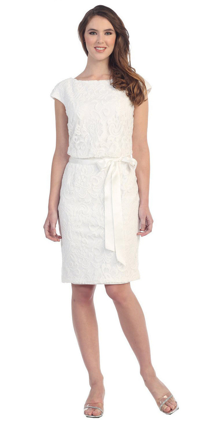 Belted Lace Round Neck Offwhite Short Sheath Formal Dress
