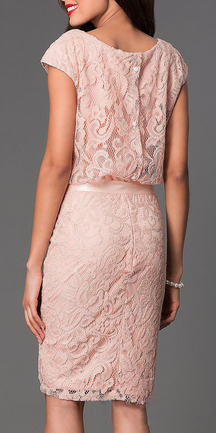Belted Lace Round Neck Peach Short Sheath Formal Dress