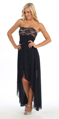 Black/Peach High Low Semi Formal Dress Chiffon/Lace Strapless Neck