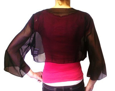 Mid Length Sleeve Sheer Black Chiffon Bolero Jacket 3/4 Length Shrug