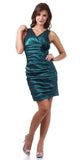Teal Green Cocktail Dress Short Tight Fit Wide Straps V Neck Ruched