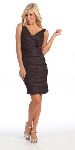 Black Cocktail Dress Short Tight Fit Wide Straps V Neck Ruched